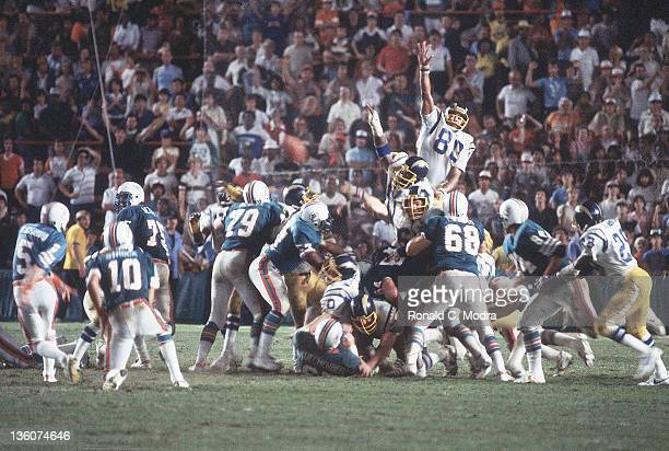 AFC Playoffs San Diego Chargers Kellen Winslow in action blocking field goal attempt vs Miami Dolphins Uwe von Schamann at Orange Bowl Stadium Miami...