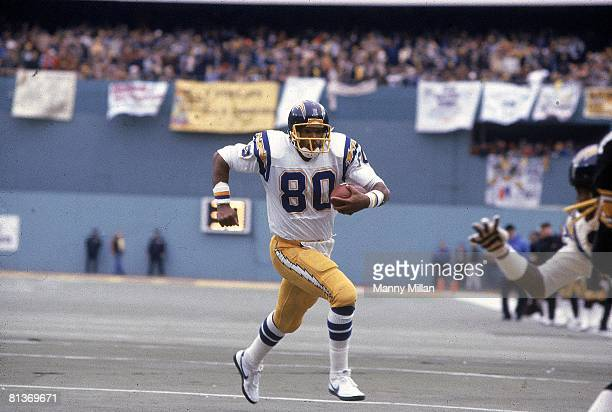Football AFC playoffs San Diego Chargers Kellen Winslow in action vs Pittsburgh Steelers Pittsburgh PA 1/9/1983