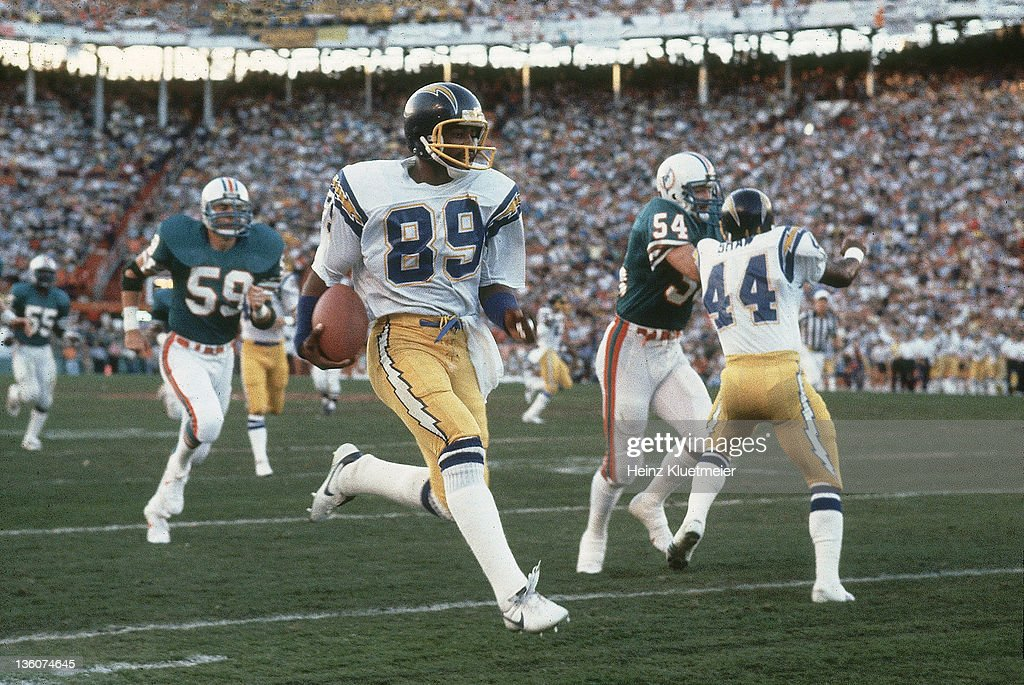 AFC Playoffs San Diego Chargers Wes Chandler in action returning punt for a touchdown vs Miami Dolphins at Orange Bowl Stadium Miami FL CREDIT Heinz...