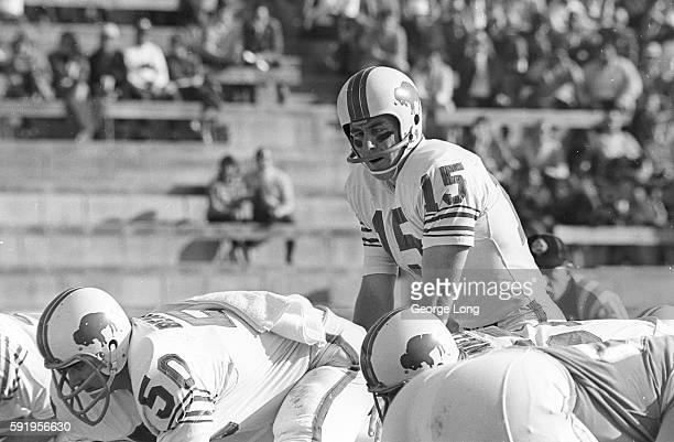 AFL Championship Buffalo Bills QB Jack Kemp calling signals during game vs San Diego Chargers at Balboa Stadium San Diego CA CREDIT George Long