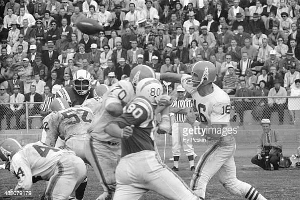 AFL Championship Houston Oilers QB George Blanda in action making pass vs San Diego Chargers at Balboa Stadium San Diego CA CREDIT Hy Peskin