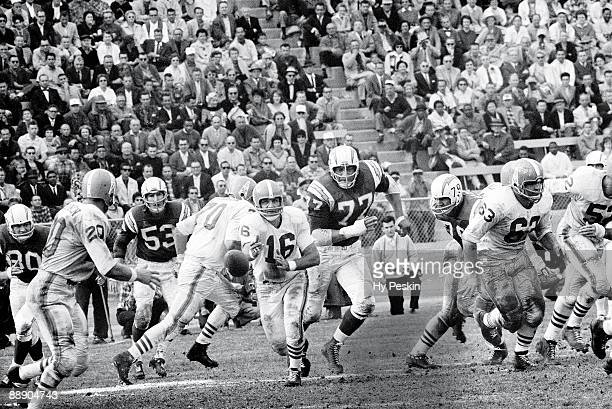 AFL Championship Houston Oilers QB George Blanda in action making pitch vs San Diego Chargers Houston TX CREDIT Hy Peskin