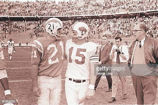 Football AFL Championship San Diego Chargers QB John Hadl and Buffalo Bills QB Jack Kemp after game San Diego CA
