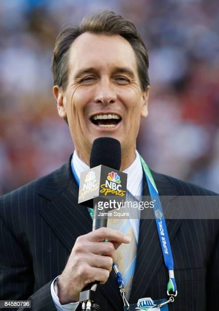 NBC football analyst Cris Collinsworth participates in the NBC pregame show prior to Super Bowl XLIII between the Arizona Cardinals and the...