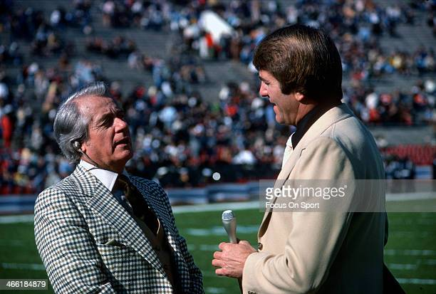 NFL football analyst Don Meredith and ABC Sports commentator Curt Gowdy in this portrait circa 1977 Meredith played quarterback in the NFL for the...