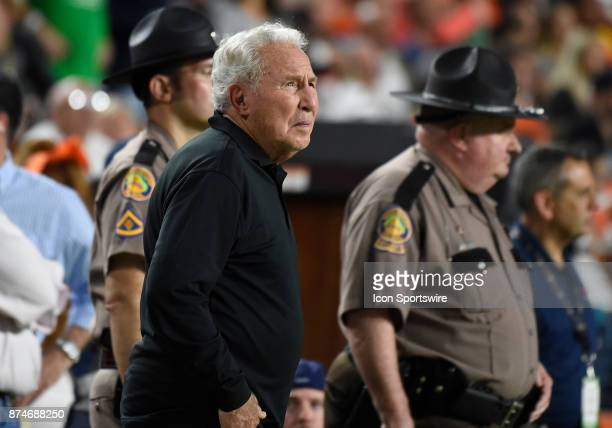 ESPN football analyst Lee Corso watched the NCAA football game between the Notre Dame Fighting Irish and the University of Miami Hurricanes on...
