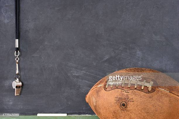 football and a whistle against a blackboard - whistle blackboard stock pictures, royalty-free photos & images