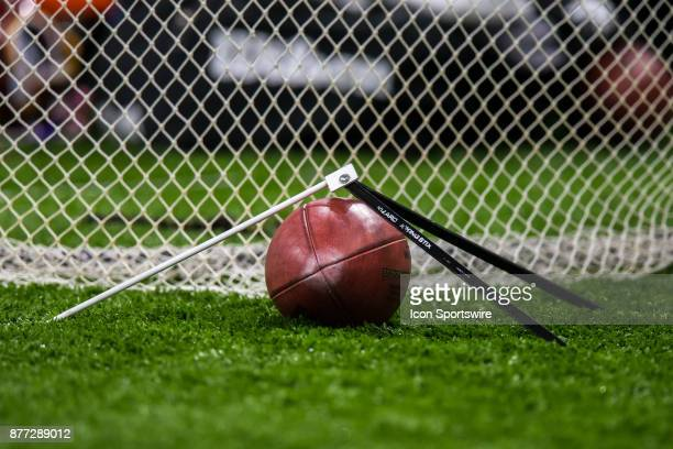 Football and practice holder lay infant of a kicking net during the New Orleans Saints and Washington Redskins game on November 19 2017 at the...