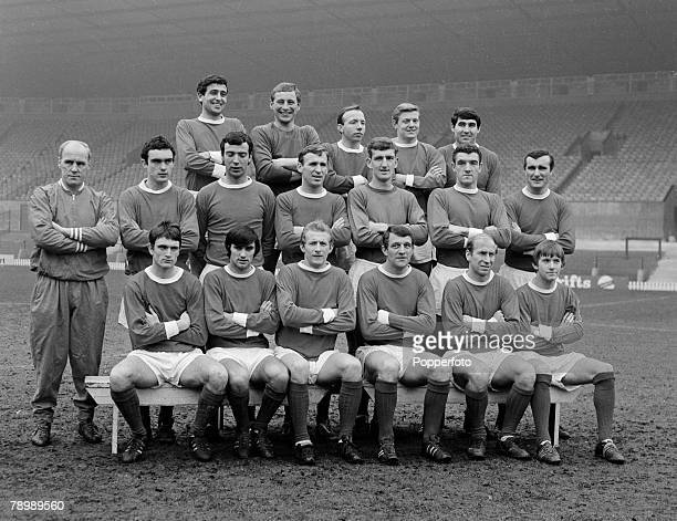 Football April 1967 Old Trafford Manchester United Team group Back Row LR Shay Brennan Dave Gaskell Nobby Stiles Bobby Noble Tony Dunne Middle Row LR...