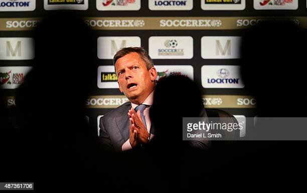 Football Association Chief Executive Martin Glenn talks to delegates during day five of the Soccerex Manchester Convention at Manchester Central on...