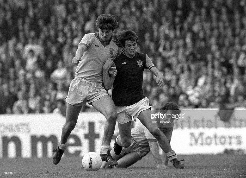 Football. 1976. Aston Villa v Birmingham City. Aston Villa+s Brian Little is pushed off the ball by Birmingham+s Joe Gallagher. : News Photo
