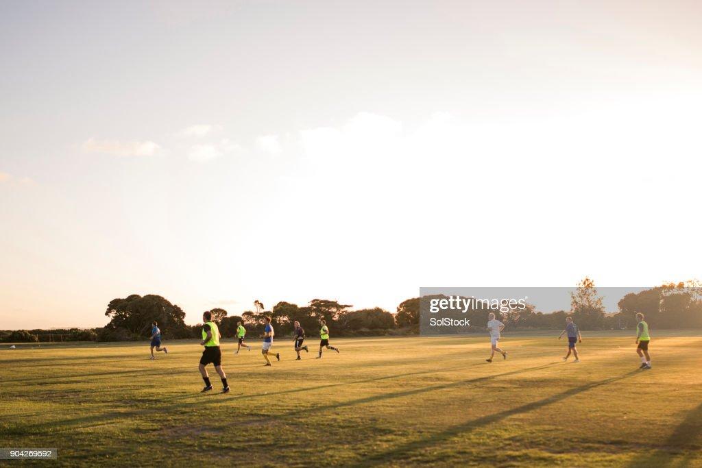 Football at Dusk : Stock Photo