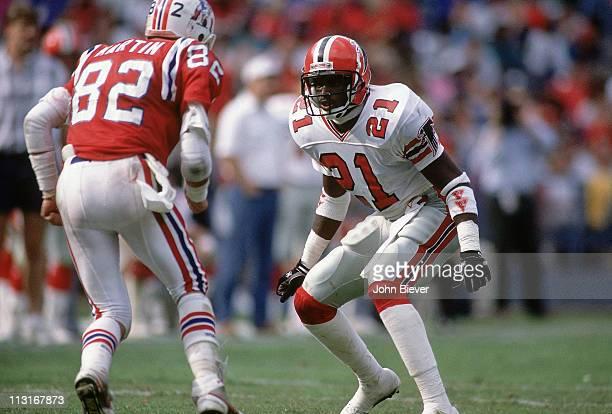 Atlanta Falcons Deion Sanders in action defense vs New England Patriots Sammy Martin at AtlantaFulton County Stadium Atlanta GA CREDIT John Biever