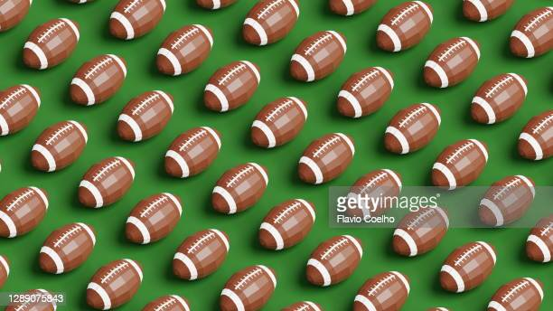 football balls low poly pattern background - american football sport stock pictures, royalty-free photos & images