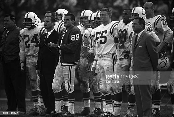 Baltimore Colts head coach Don Shula and players on sidelines during game vs San Francisco 49ers at Memorial Stadium Baltimore MD CREDIT Neil Leifer