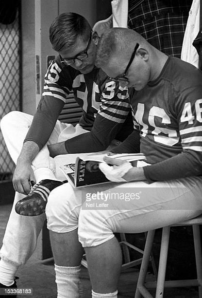 Baltimore Colts Jim Welch and Ted Davis casual reading Playboy magazine before practice at Memorial Stadium Baltimore MD CREDIT Neil Leifer