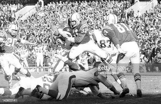 Baltimore Colts Mike Curtis in action making sack vs Los Angeles Rams QB Roman Gabriel at Memorial Stadium Baltimore MD CREDIT Herb Scharfman