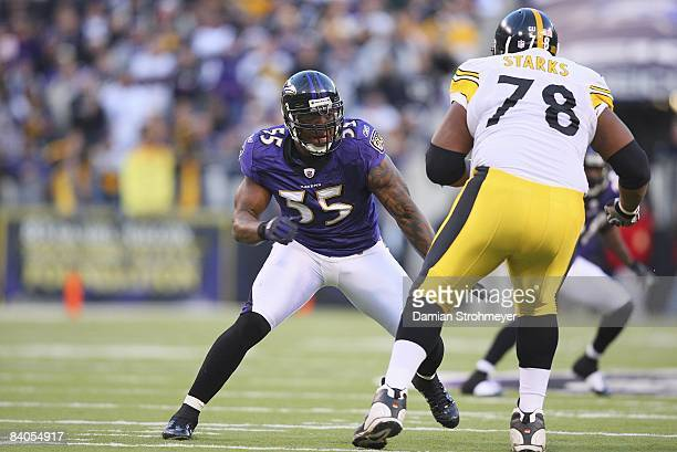 Baltimore Ravens Terrell Suggs in action vs Pittsburgh Steelers Max Starks . Baltimore, MD CREDIT: Damian Strohmeyer
