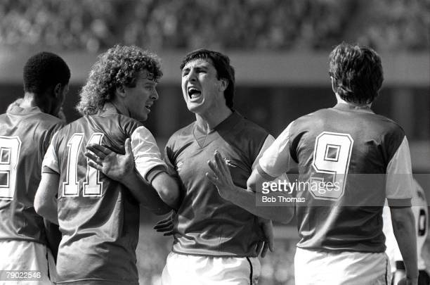 Football Birmingham England FA Cup Semi Final 16th April 1983 Manchester United 2 v Arsenal 1 Arsenal's Brian Talbot organises the defensive wall...