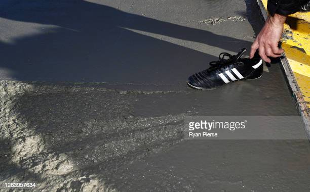 Football boot is seen on the first concrete slab at the new Sydney Football Stadium on August 05 2020 in Sydney Australia Construction on the new...