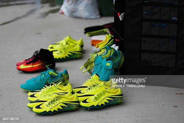 Football boots are pictured during a training session by the Croatia team in Deauville north west France on June 22 during the Euro 2016 football...