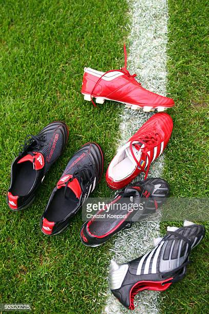 Football boots are seen during the Bundesliga match between Bayern Muenchen and Bayer Leverkusen at the Allianz Arena on November 22 2009 in Munich...