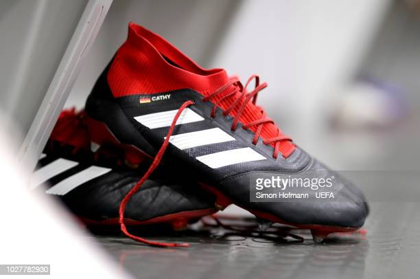 Football boots are seen in the German changing room prior to the UEFA Nations League Group A match between Germany and France at Allianz Arena on...
