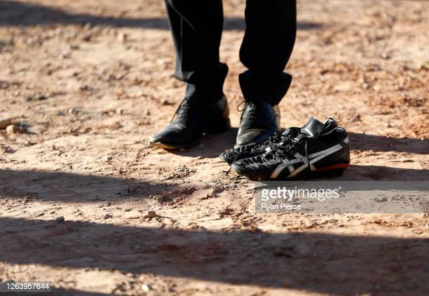 Football boots are seen on the construction site at the new Sydney Football Stadium on August 05 2020 in Sydney Australia Construction on the new...