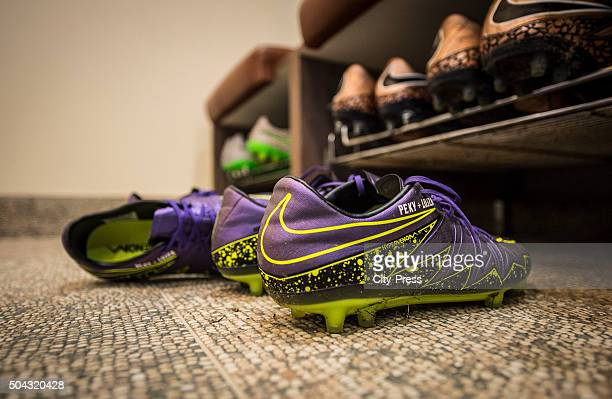 Football boots during the winter training camp of Hertha BSC on january 10 2016 in Belek turkey