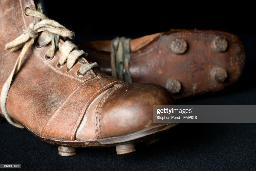 football boots from 1930 s on show at the national football museum