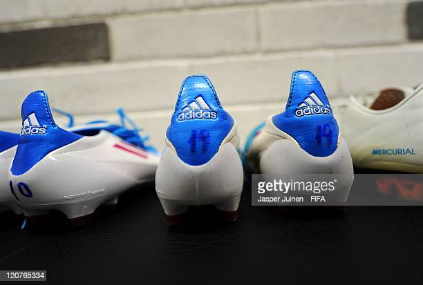 Football boots stand ready in the Argentinian dressing room prior to the FIFA U20 World Cup Colombia 2011 round of 16 match between Argentina and...