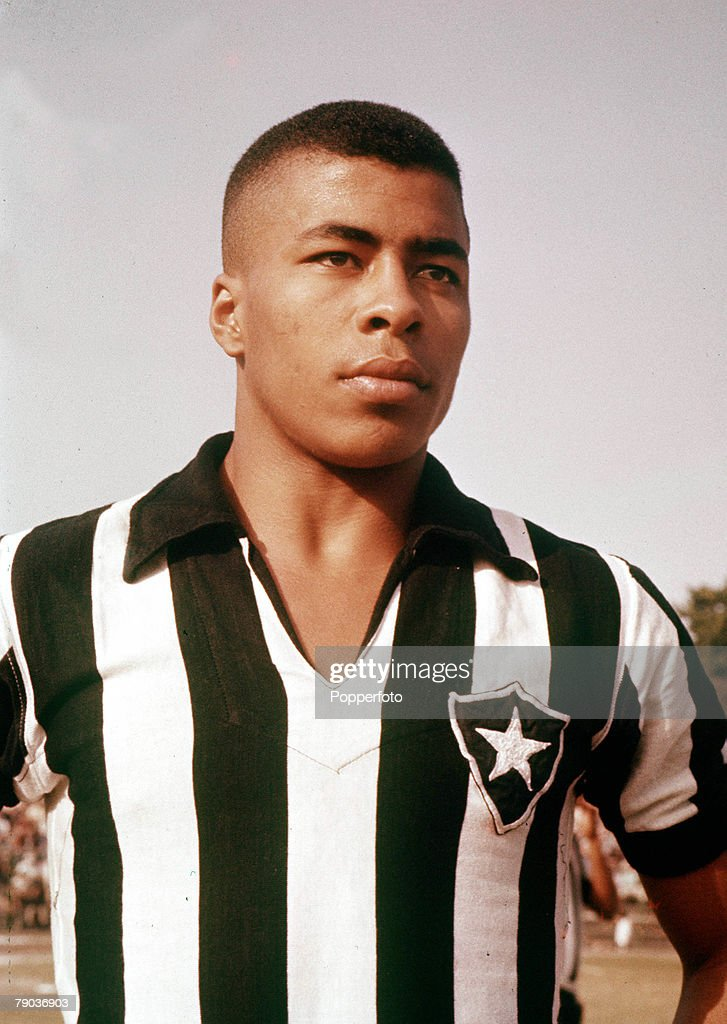 Football, Brazil's Jairzinho, one of the stars of the victorious Brazil team of the 1970 World Cup Finals in Mexico, wearing the shirt of his club side, Botafogo