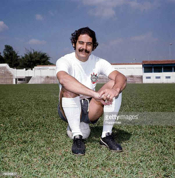 Football, Brazil's Rivelino, one of the stars of the victorious 1970 World Cup winning team in Mexico, poses wearing the kit of his club side...