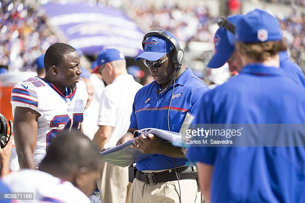Buffalo Bills LeSean McCoy with assistant head coach Anthony Lynn on sidelines during game vs Baltimore Ravens at MT Bank Stadium Baltimore MD CREDIT...