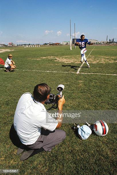 Buffalo Bills OJ Simpson posing casual for photographer during training camp at Niagara University Lewiston NY CREDIT Neil Leifer