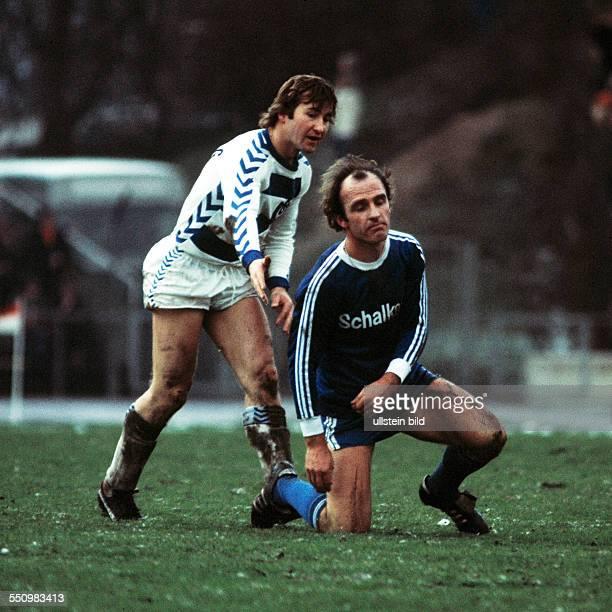 football Bundesliga 1975/1976 Wedau Stadium MSV Duisburg versus FC Schalke 04 13 scene of the match Michael Bella left and Branko Oblak