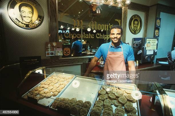 Canadian Football League Portrait of Edmonton Eskimos QB Warren Moon during photo shoot at his Chocolate Chippery cookie store Edmonton Canada...