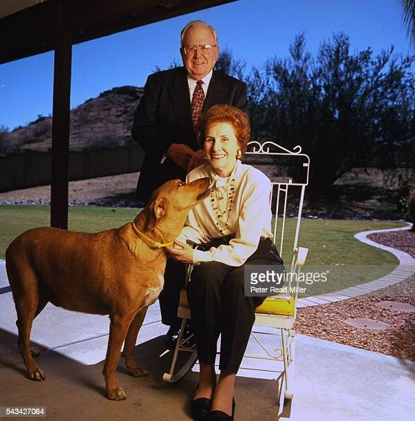 Casual portrait of Arizona Cardinals coach Buddy Ryan with wife Joanie and dog outside their home Phoenix AZ CREDIT Peter Read Miller