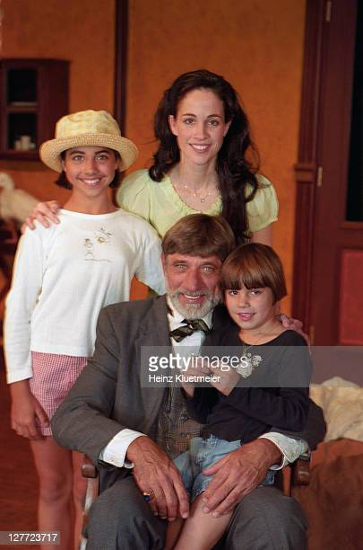 Casual portrait of Joe Namath with wife Tatiana and daughters Jessica and Olivia after a performance of The Seagull at the arcLight Theater New York...