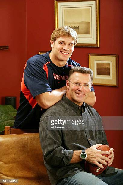 Football Casual portrait of NFL prospect and former Virginia defensive end Chris Long with his father former NFL player and Hall of Famer Howie Long...