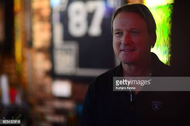 Casual portrait of Oakland Raiders head coach Jon Gruden during photo shoot at Ricky's Sports Theatre Grill San Leandro CA CREDIT Kohjiro Kinno