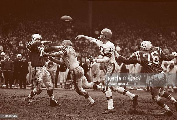 Football championship Cleveland Browns QB Frank Ryan in action vs Baltimore Colts Cleveland OH