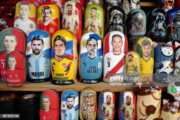 Football character Russian dolls of Cristiano Ronaldo Lionel Messi James Rodriguez Luis Suarez Paolo Guerrero and Neymar at the Izmailovo Flea Market...