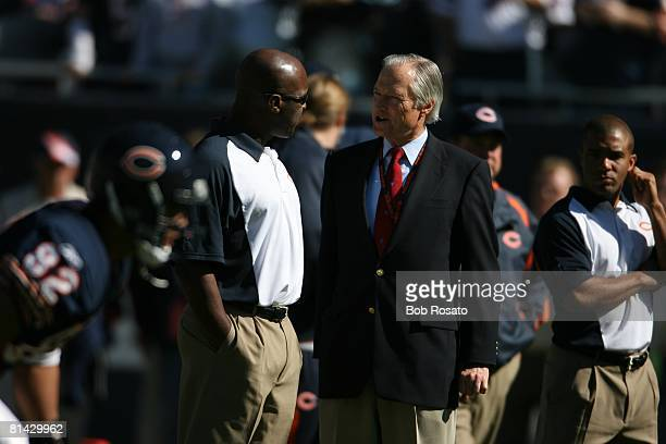 Football Chicago Bears coach Lovie Smith and owner Michael McCaskey on sidelines during game vs Buffalo Bills Chicago IL 10/8/2006