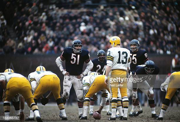 Chicago Bears Dick Butkus at line of scrimmage before snap vs Green Bay Packers backup QB Don Horn at Soldier Field Chicago IL CREDIT Neil Leifer