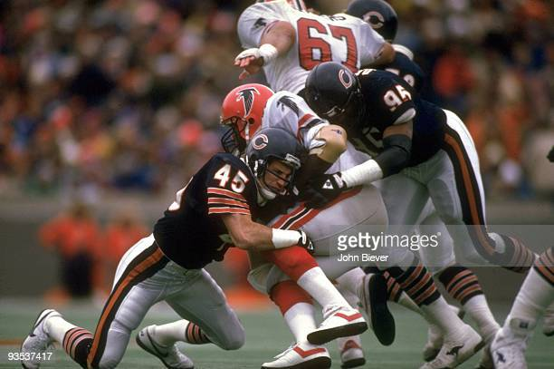 Chicago Bears Gary Fencik and Richard Dent in action defense vs Atlanta Falcons Chicago IL CREDIT John Biever