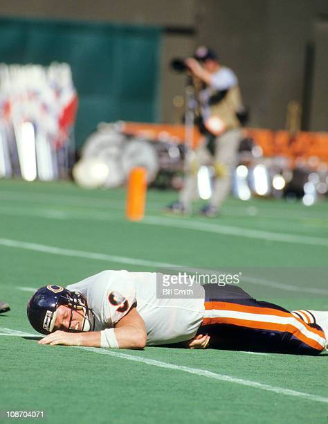 Chicago Bears QB Jim McMahon in pain after sack during game vs Cincinnati Bengals at Riverfront StadiumCincinnati OH 9/28/1986CREDIT Bill Smith