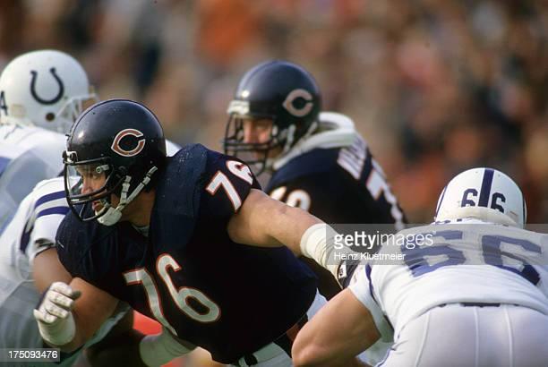 Chicago Bears Steve McMichael in action defense vs Indianapolis Colts at Soldier Field Chicago IL CREDIT Heinz Kluetmeier