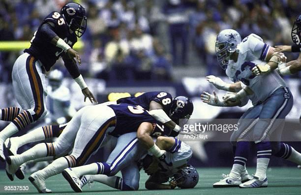 Chicago Bears Tyrone Keys and Steve McMichael in action sack vs Dallas Cowboys QB Gary Hogeboom Dallas TX CREDIT Andy Hayt