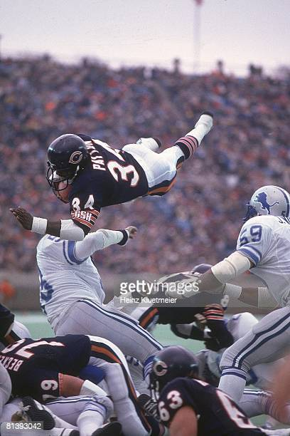 Football Chicago Bears Walter Payton in action scoring TD vs Detroit Lions Chicago IL